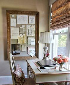 #Decor home office - corcho con marco de madera