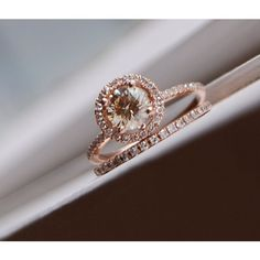 Engagement ring set 0.7ct VS Champagne diamond ring 14k rose gold and matching band ($3,079) found on Polyvore