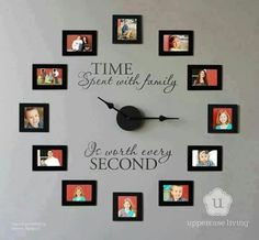 Time spent with family clock from Uppercase Living -- This is going to be my fall/winter project this year. Kind of like this idea for an empty wall. nice way to fill it!