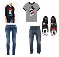 """Minnie and mickey"" by sarahelizabethdye on Polyvore featuring Freeze 24-7, JEM, Armani Jeans and MOA Master of Arts"