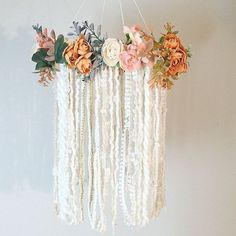 Nursery ideas- Bohemian Nursery Mobile, Dreamcatcher Mobile, Flower Mobile, Boho chic Dream catcher, Boho Nursery Mobile, Fl