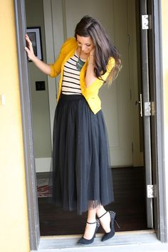 Canary cardi & black tulle skirt. Don't really know how I feel about those heels... Danger danger, for me