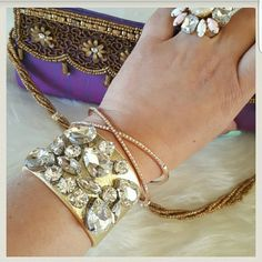 Gold Faux Leather Crystal Bracelet *Much prettier in person than the picture*. 18k gold plated metals. Faux gold leather with glass crystals. Nickle free, Lead free.  CRISS CROSS BRACELET NOT INCLUDED  OFFERS ARE WELCOME  ❌ NO TRADES ❌ T&J Designs Jewelry Bracelets