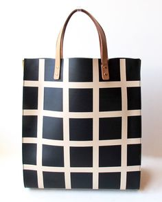 Orla Kiely Willow Bag in black and white printed check leather