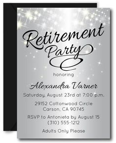 Retirement Party Invitations featuring a sparkly silver background. Retirement Party Invitations, Retirement Parties, Elegant Invitations, Printable Invitations, Text Color, Order Prints, Thank You Cards, Rsvp, Messages