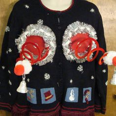 Snowmen and Snowflakes Funny Naughty Ugly Christmas Sweater