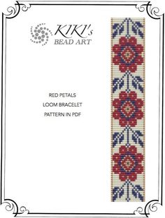 Bead loom pattern - Red petals flowery LOOM bracelet pattern in PDF instant download