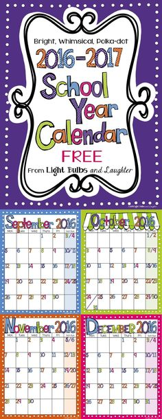 FREE bright, polka-dot calendar that's editable in Power Point, or print the PDF version.