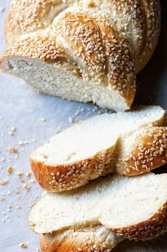 This Italian Bread is made with a Biga starter. It's braided and has a sesame seed encrusted outside and soft inside.