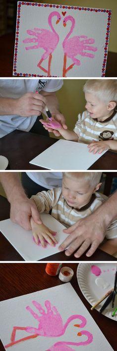 Handprint Flamingo   Easy Valentine Crafts for Preschoolers to Make