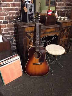 """1942 Gibson """"Banner"""" J-45! Gibson Acoustic, Usa Customs, Guitar Collection, Music Guitar, Bass, Instruments, Banner, Vintage, Banner Stands"""