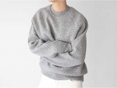 Grey sweater & white denim