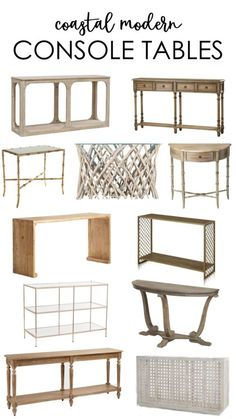 A curated collection of coastal modern console tables. More than 20 beautiful styles at all price points that fit well with the beachy or coastal style home! Coastal Bedrooms, Coastal Living Rooms, Bedroom Modern, Coastal Style, Coastal Decor, Modern Coastal, Coastal Interior, Modern Console Tables, Modern Table