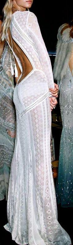 Cute long boho lace white backless dress inspiration #cute