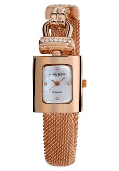 Price:$84.99 #watches Akribos XXIV AK510RG, This exceptional timepiece from Akribos XXIV showcases a mother of pearl dial with four genuine diamonds. This women's watch offers a gold-tone metal case with crystals accents on the bezel and on the mesh bracelet.