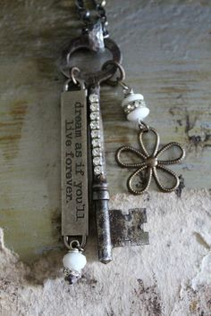 DREAM Vintage Key Necklace by BelleVia on Etsy, $34.00