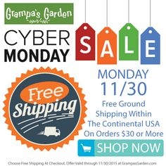 Free Shipping for Cyber Monday at http://www.GrampasGarden.com - Storewide Sale! (Valid on all orders $30 or more, shipped within the continental USA) Sale through Monday 11/30/2015. #cybermonday #sale #hotpack #coldpack #shawl #blanket #gifts