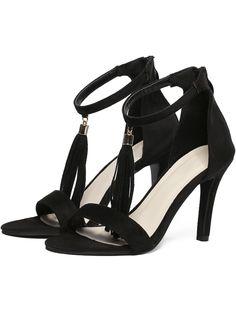 Black Peep-toe Tassel One Strap High Stiletto Heel Sandals 30.90