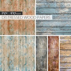 Distressed wood digital paper rustic wood por POandPOdigital