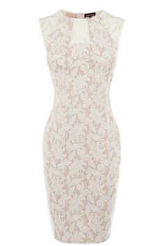 This panelled bonded lace dress is an ideal choice for special events in the warmer months. The fitted dress is constructed out of bonded lace and features sleeveless styling with seamed panelling across the top and sheer insert panels with a concealed zip fastening at the reverse