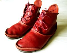 Women's Trippen 'Hermit' Red Leather Ankle Boots
