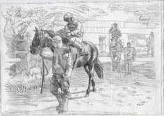 Racing Day #6. 7.5x11in. Horse Racing Drawing #Realism