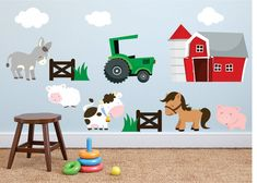 Our custom reusable fabric farm animals and barn set will be a great additi Horse Wall Decals, Animal Wall Decals, Vinyl Wall Decals, Kids Room Murals, Church Nursery, Farm Yard, Custom Wall, Textured Walls, Decoration