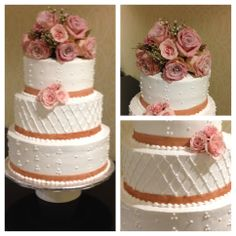 Simple pipped wedding cake with fresh roses. Vanilla Cake, Noodles, Wedding Cakes, Bakery, Simple, Desserts, Roses, Fresh, Food
