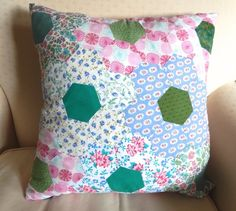 Cushion - Hand sewn hexagon EPP patchwork in vintage fabric £12.95