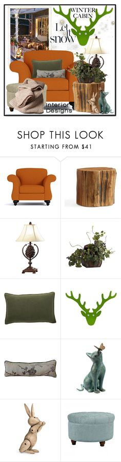 """Cozy Cabin Style"" by slynne-messer ❤ liked on Polyvore featuring interior, interiors, interior design, home, home decor, interior decorating, Pottery Barn, Universal Lighting and Decor, Nearly Natural and JAG Zoeppritz"