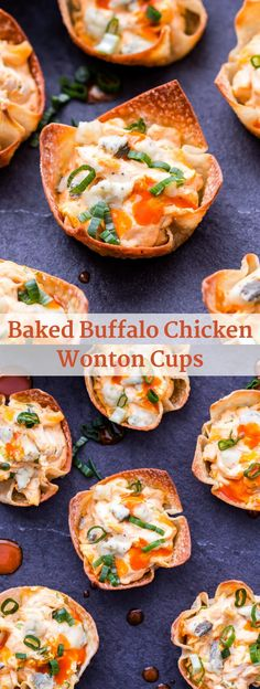 Baked Buffalo Chicken Wonton Cups are the perfect portable appetizer to serve fo. - Baked Buffalo Chicken Wonton Cups are the perfect portable appetizer to serve for game day or your n - Wonton Appetizers, Wonton Recipes, Chicken Appetizers, Yummy Appetizers, Appetizers For Party, Appetizer Recipes, Recipes With Wonton Wrappers, Popular Appetizers, Italian Appetizers