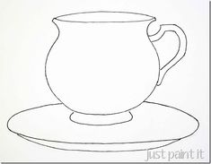 Teacups and Teapot Patterns for painting, crafting, embroidery, clipart, appliques, and coloring!
