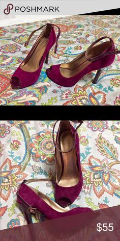 BCBGeneration burgundy heels Genuine suede leather-worn 2x Shoes Heels