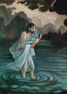 Vasudev carrying lord Krishna during a stormy night. Taking him to Maa Yashodha Lord Krishna Images, Krishna Pictures, Krishna Photos, Radha Krishna Images, Krishna Lila, Cute Krishna, Krishna Radha, Shri Hanuman, Durga