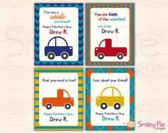 Cars and Trucks Valentines - Personalized - Printable file. $8.00, via Etsy.
