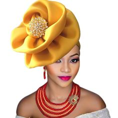 High quality aso oke headtie ready to wear auto hele aso ebi gele turban cap african nigeria gele headtie 2018 New African Hats, African Dress, African Style, African Outfits, African Attire, African Women, Turban Hat, Turban Headbands, African American Fashion