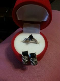 Black Onyx Ring and Earrings Sterling Silver .925