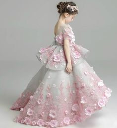 Sequin Flower Applique Gown---Made To Order - High Quality Beautiful & Elegant Pink Flower Applique Tiered Short Sleeve Junior Bridesmaid Gown With Short Train Available from 3 until 14 years old This gown adorned with 3D pink flower and embroidery flower sequin Material: Cotton Color: Light Gray & Pink Please do compare your little girl measurements with our size chart below before deciding her size
