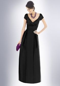 A-Line V-neck Short Sleeve Floor-Length Bridesmaid Dresses