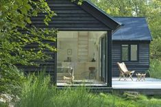 Summer Cottage In Denmark By Mn Huset Rose Bush Care, Black House Exterior, Small Cottages, Small House Design, Prefab Homes, Rustic Interiors, Denmark, Vacation, Outdoor Decor