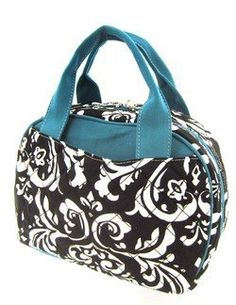 Cute Blue Trim Quilted Damask Insulated Lunch Bag Price