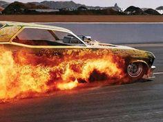 Funny Car fire
