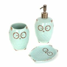 Turquoise Owl 3 Piece Bath Accessory Set