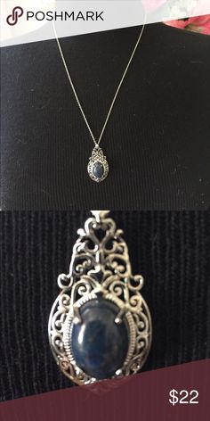 Beautiful necklace Blue stone on beautiful silver. Quality piece! Jewelry Necklaces