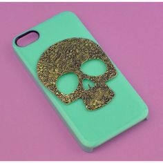 Floral Skull-- iphone 5 case studded,stud iphone 5 case in black or... ($15) found on Polyvore