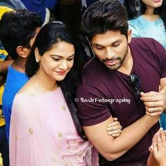 Allu Arjun with Her wife Actors Images, Couples Images, Hd Images, Girl Couple, Couple Shoot, Sneha Reddy, Allu Arjun Wallpapers, Dj Movie, Allu Arjun Images