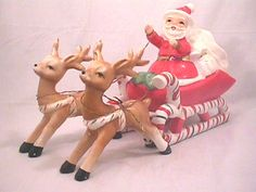 VINTAGE CANDY CANE Lefton? Sleigh With Santa W/ 2 Reindeer : NO RESERVE