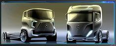 Mercedes Benz Truck Sketches on Behance Future Trucks, New Trucks, Cool Trucks, Truck Tattoo, Pink Truck, Mercedes Benz Trucks, Daimler Benz, Monster Truck Birthday, Heavy Truck