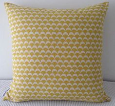 Japanese wavy yellow geometric pattern cushion cover, slip cover, throw pillow, decorative cushion, accent pillow