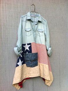 Americana romantic lagenlook dress / Upcycled by CreoleSha on Etsy